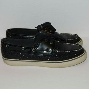Sperry Shoes - SPERRY TOP-SIDERS Black Shimmery Glitter EUC!